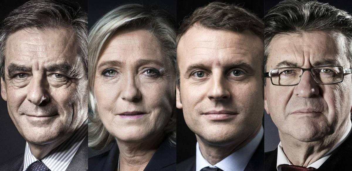 Cuatro candidatos encabezan los sondeos,  Emmanuel Macron,